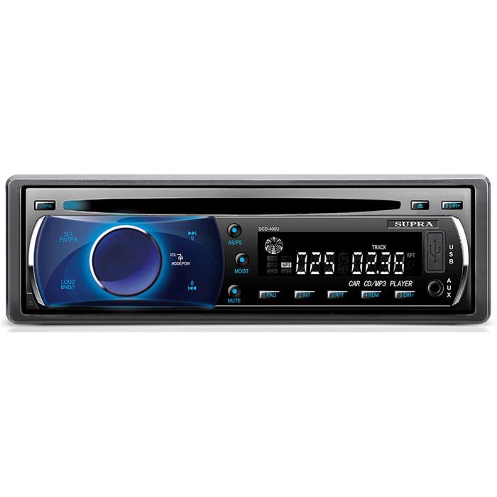 Supra SCD-400U, Black автомагнитола CD/MP3SCD-400USupra SCD-400U - автомагнитола со съемной передней панелью. Максимальная мощность составляет 4 x 50 Вт. Из дополнительных функций присутствуют регулировка тембра, эквалайзер, приглушение звука, тон-компенсация, часы и автопоиск.