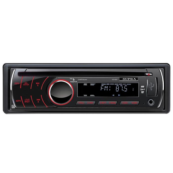 Supra SCD-402U, Black автомагнитола CD/MP3SCD-402USupra SCD-402U - автомагнитола со съемной передней панелью. Максимальная мощность составляет 4 x 50 Вт. Из дополнительных функций присутствуют регулировка тембра, эквалайзер, приглушение звука, тон-компенсация, часы и автопоиск. Тюнер с дальним приёмом Пауза при разговоре по телефону Цифровой аудио-процессор Встроенный эквалайзер (Поп / Рок / Классика) Цифровой энкодер для регулировки громкости