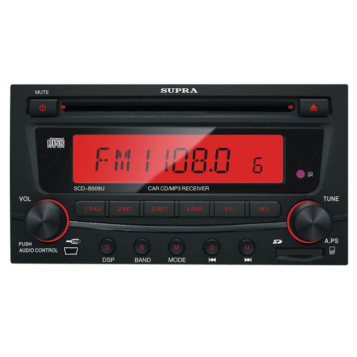 Supra SCD-B509U, Black автомагнитола CD/MP3SCD-B509USupra SCD-B509U - автомагнитола с передней панелью черного цвета, процессором, цифровым энкодером и подсветкой кнопок красного цвета. Максимальная мощность составляет 4 x 50 Вт. Из дополнительных функций присутствуют регулировка тембра, эквалайзер, приглушение звука, тон-компенсация, и автопоиск. Пауза при разговоре по телефону Встроенный эквалайзер (Поп / Рок / Классика) Тюнер с дальним приёмом Пульт ДУ