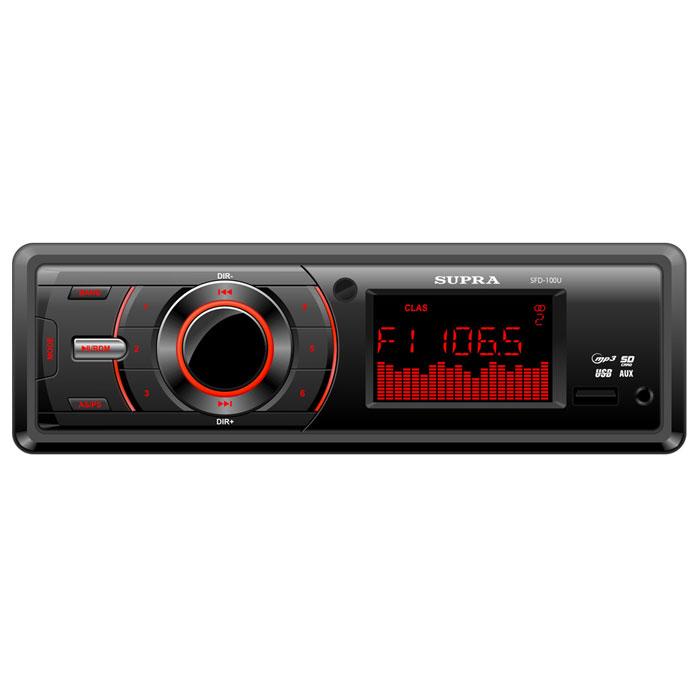 Supra SFD-100U, Black автомагнитола MP3SFD-100USupra SFD-100U - автомагнитола с подсветкой красного цвета. Максимальная мощность составляет 4 x 40 Вт. Из дополнительных функций присутствуют регулировка тембра и автопоиск.