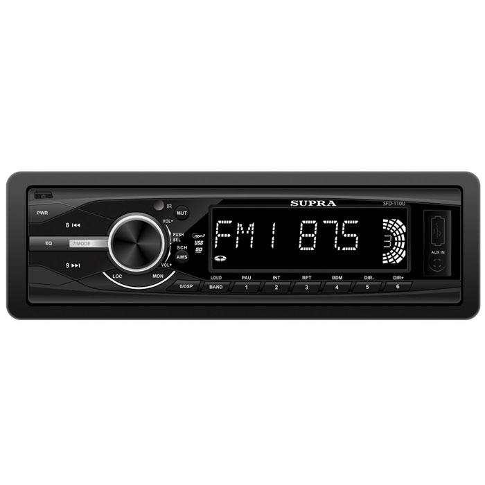 Supra SFD-110U, Black автомагнитола MP3SFD-110UАвтомагнитола Supra SFD-110U воспроизводит файлы MP3/WMA как с карт SD/MMC карт, так и с USB-флэшек, которые удобно вставлять в разъем на передней панели. Также в устройстве имеется AM/FM/УКВ радиоприемник для прослушивания любимых радиостанций. Строгий и лаконичный дизайн Supra SFD-110U без излишеств прекрасно впишется в интерьер любого автомобиля. Производители снабдили автомагнитолу Supra SFD-110U несколькими отличными функциями: поиск треков по папкам и файлам, отображение тэгов, возможность повтора песен и их случайного воспроизведения. Встроенный эквалайзер подправит частоты в соответствии с вашим вкусом.