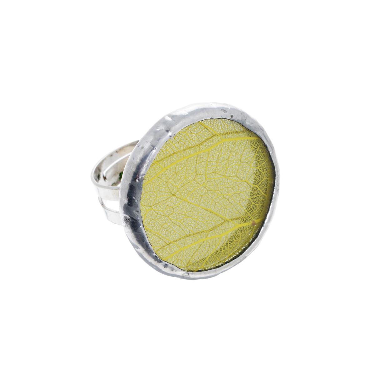 Кольцо Естественный отбор Лист, цвет: желтый. Ч-0063Ч-0063Кольцо Естественный отбор Лист не оставит равнодушной ни одну любительницу необычных аксессуаров. Кольцо выполнено из металла и оснащено круглой стеклянной вставкой, украшенной гербарием желтого листика. Кольцо безразмерное. Это по-настоящему весенний аксессуар - яркий и необыкновенный, способный как по волшебству наполнить воздух солнечными лучами и запахами весны. Прекрасно подойдет для натур неординарных и легких на подъем, которые предпочитают все оригинальное и нестандартное.