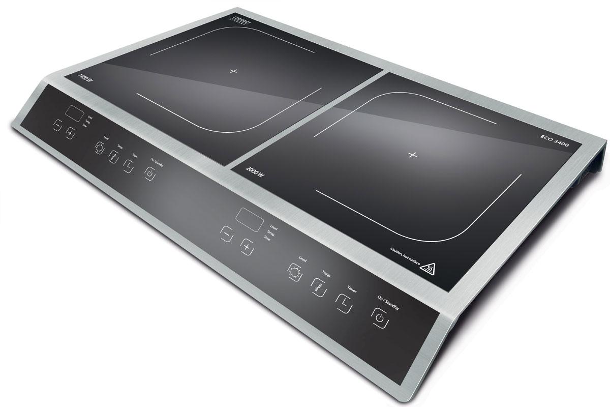 CASO Eco 3400 настольная индукционная плиткаECO 3400Настольная индукционная стеклокерамическая плитка CASO ECO 3400 – верная помощница на кухне, которая служит качественно и долго и доставляет своему владельцу только положительные эмоции. Прибор имеет две зоны нагрева, сенсорное управление с дисплеем и светодиодной индикацией. Модель проста и понятна в настройке и управлении. Поверхность легко очищается от загрязнений. Варочная панель оснащена системой индукционного нагрева. Индуктор, расположенный под поверхностью, создает переменное электромагнитное поле – в результате этого в дне посуды индуцируется ток, что и приводит к нагреву. Тепло образуется непосредственно в дне посуды без промежуточного нагрева конфорки