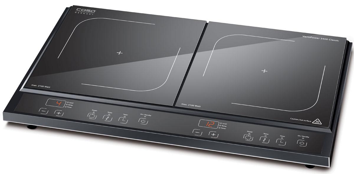 CASO Vario Power 3400 Classic настольная индукционная плиткаVario Power 3400 ClassicНастольная индукционная стеклокерамическая плитка Vario Power 3400 Classic – верная помощница на кухне, которая служит качественно и долго и доставляет своему владельцу только положительные эмоции. Прибор имеет две зоны нагрева, сенсорное управление с дисплеем и светодиодной индикацией. Модель проста и понятна в настройке и управлении. Поверхность легко очищается от загрязнений. Варочная панель оснащена системой индукционного нагрева. Индуктор, расположенный под поверхностью, создает переменное электромагнитное поле – в результате этого в дне посуды индуцируется ток, что и приводит к нагреву. Тепло образуется непосредственно в дне посуды без промежуточного нагрева конфорки