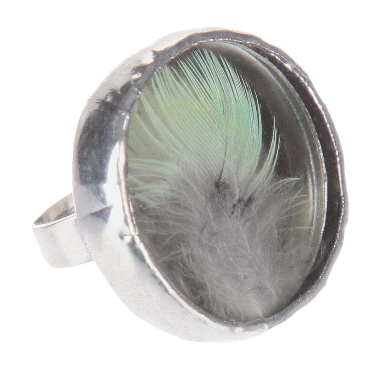 Кольцо Естественный отбор Перо, цвет: серебристый, серый, зеленый. Ч-0121Ч-0121Кольцо Естественный отбор Перо не оставит равнодушной ни одну любительницу необычных аксессуаров. Кольцо выполнено из металла и оснащено круглой стеклянной вставкой, украшенной перышком. Кольцо безразмерное. Это по-настоящему весенний аксессуар - яркий и необыкновенный, способный как по волшебству наполнить воздух солнечными лучами и запахами весны. Прекрасно подойдет для натур неординарных и легких на подъем, которые предпочитают все оригинальное и нестандартное.