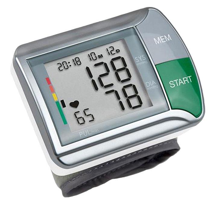 Medisana Запястный тонометр HGN00000812Тонометр на запястье Medisana HGN - компактный автоматический прибор с памятью на двух пользователей по 60 измерений на каждого. В нем применяется достаточно надежный и точный осциллометрический метод измерений артериального давления. Тонометр производит измерение кровяного давления на запястье с помощью микропроцессора, который с помощью датчика давления анализирует колебания давления, возникающие на артерии при накачивании и выпуске воздуха из манжеты. Корпус прибора объединен с манжетой. Манжета имеет размеры 300 x 70 мм и образует периметр 14 x 19,5 см для взрослых. Тонометр на запястье Medisana HGN выводит данные на цифровой экран. Одновременно отображаются артериальное давление (систолическое и диастолическое), пульс, текущее время и дата. Для максимального удобства имеется цветная шкала для оценки результатов измерения в соответствие с нормами Всемирной Организации Здравоохранения (ВОЗ). Уважаемые клиенты! ...