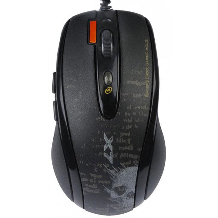 A4Tech V-Track F5, игровая мышь647961Усиленный V-лазерный луч (технология V-Track) глубоко проникает в структуру поверхности, благодаря чему мышь A4Tech F5 быстро и четко работает на любых покрытиях. Мышь работает даже на объемной меховой поверхности! 5 настраиваемых режимов разрешения с цветным индикатором: Максимальное разрешение - 3000 dpi. Разрешение переключается кнопкой «DPI», которая подсвечивается разными цветами в зависимости от выбранного разрешения. Время отклика кнопок мыши до 1 мс: Минимальное время отклика дает преимущество в компьютерных играх, что позволяет моментально реагировать на действия противников во время игры. У обычной мыши время отклика составляет в среднем 16 мс. Встроенная память 160 Кб: Теперь у вас есть уникальная возможность запрограммировать мышь выполнять любые игровые действия одним кликом! Создавайте свои скрипты и интегрируйте их во встроенную память вашей мыши. Играйте на любых компьютерах, сохранив ваши уникальные...