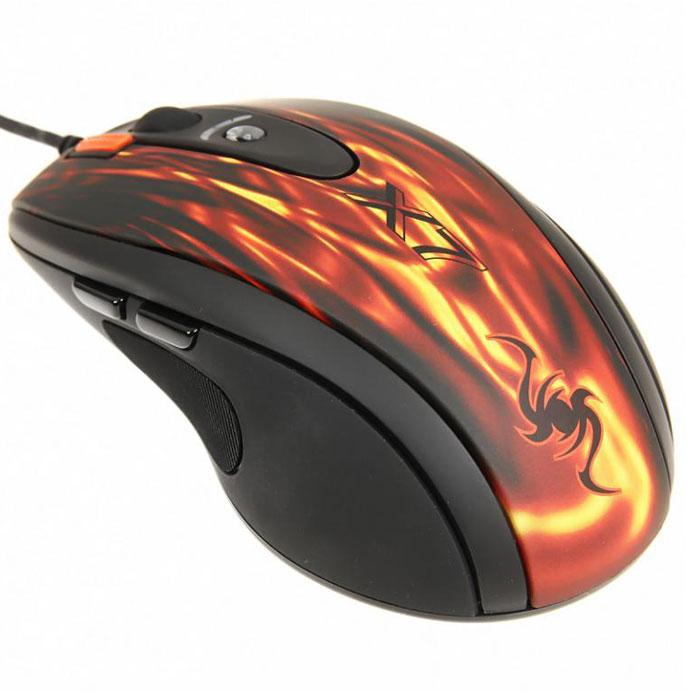 """A4Tech XL-750BK, Red Black игровая мышь557254A4Tech XL-750BK - игровая мышь, обеспечивающая полный контроль игры в любой ситуации. Классическая эргономичная форма корпуса мышей X7. Новая технология «Абсолютный контроль курсора». Оторвите мышь от поверхности стола и курсор тут же замрет. Теперь вы сможете полностью контролировать ваши игровые действия, совершая мышью даже самые резкие движения. Фиксация курсора позволяет быстро зафиксировать цель в шутерах. 6 режимов разрешения с цветным индикатором. Разрешение переключается кнопкой «DPI», которая подсвечивается разными цветами в зависимости от выбранного разрешения. Максимальное разрешение - 3600 dpi. При возвращении к повседневной работе за компьютером можно понизить его до 600 dpi. Кнопка «Тройной клик» позволяет делать сразу три выстрела одним нажатием. Регулируемое время отклика. Вы можете менять время отклика для двух основных кнопок мыши и кнопки """"3X Fire"""" от 3 до 30 мс. Увеличенная скорость обмена данных. Мышь мгновенно среагирует..."""
