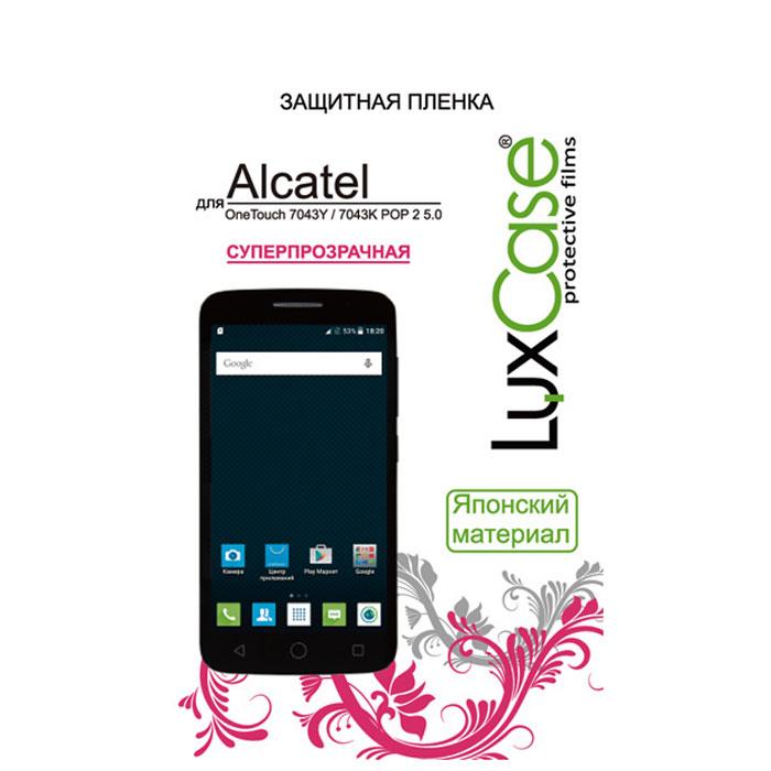 Luxcase защитная пленка для Alcatel OT-7043K Pop 2 (5) LTE, суперпрозрачная51327Защитная пленка Luxcase сохраняет экран смартфона гладким и предотвращает появление на нем царапин и потертостей. Данная модель не снижает чувствительности на нажатие. На ней есть все технологические отверстия. Благодаря использованию высококачественного японского материала пленка легко наклеивается, плотно прилегает, имеет высокую прозрачность и устойчивость к механическим воздействиям. Потребительские свойства и эргономика сенсорного экрана при этом не ухудшаются.