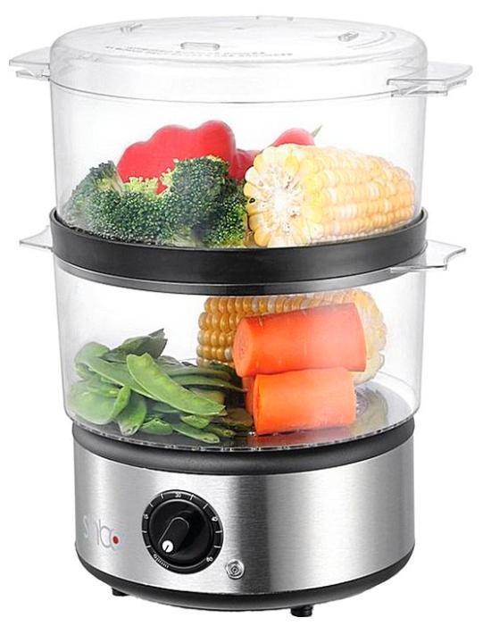 Sinbo SFS 5703, Silver пароваркаSFS 5703Пароварка Sinbo SFS 5703 — кухонная техника, для приготовления пищи на пару, которая сохраняет в продуктах максимума питательных веществ. Что бы приготовить сразу несколько разных блюд, Вам больше не придется ждать пока освободится нужная кастрюля, с пароваркой все гораздо проще, продукты которые готовятся долго, следует поместить в нижнюю паровую корзину, а быстро варящиеся продукты — в верхнюю. Пароварка Sinbo SFS 5703 легка в эксплуатации, просто наливаете воду в нижний резервуар, ставите корзинки, и выкладываете заготовленные вами блюда. Выставляете нужное Вам время и продолжаете заниматься своими делами. В пароварке Sinbo SFS 5703 можно не только готовить полезные блюда, но и размораживать продукты, стерилизовать детские бутылочки или быстро разогревать еду. С пароваркой, Вы можете забыть о том, что что-нибудь сбежит, подгорит или пересушится. Пароварку Sinbo SFS 5703 легко мыть, так как пища, не пристает ко дну и стенкам паровых корзин, ее паровые корзины достаточно...