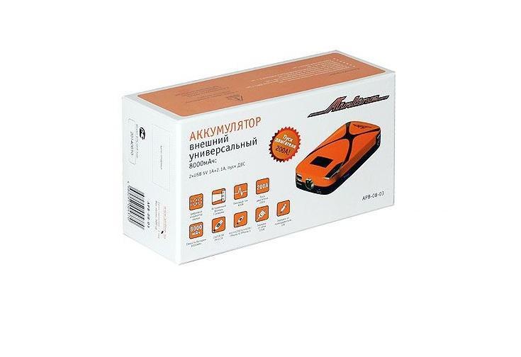 Аккумулятор внешний универсальный Airline, 8000мАч: 2хUSB 5V 1A+2.1A, пуск ДВС (APB-08-03)APB-08-03
