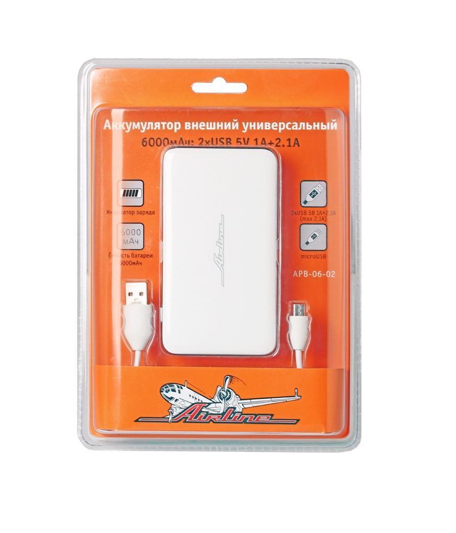 Аккумулятор внешний универсальный Airline, 6000мАч: 2хUSB 5V 1A+2.1A (APB-06-02)