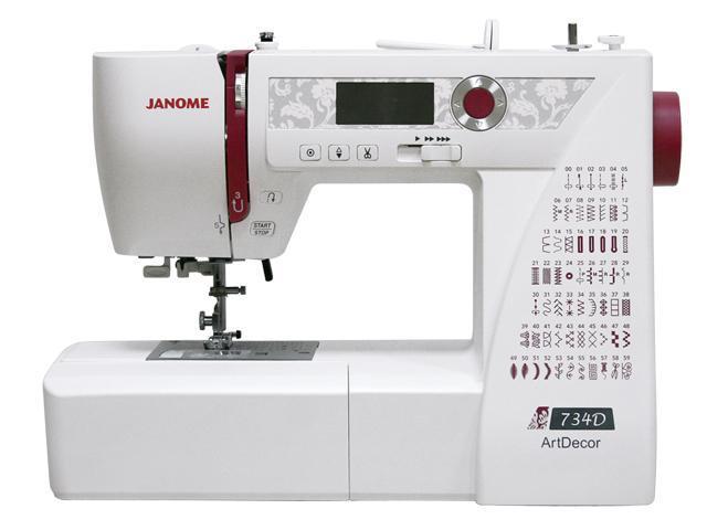 Janome ArtDecor 734D швейная машина4933621706425Новая компьютерная швейная машина Janome ArtDecor 734D сделана на современной платформе и имеет элегантный внешний вид. ЖК-дисплей выгодно выделяется на декоративной панели с нежным орнаментом Janome ArtDecor имеет 60 встроенных швейных операций, включая строчки для шитья трикотажных тканей различной степени эластичности, оверлочные строчки для обработки края изделия, 6 видов петель, выполняемых в автоматическом режиме, а также строчки для популярного сейчас направления творчества квилтинг и широкий выбор декоративных строчек Выбор швейных операций и настройки параметров строчки происходят с помощью хромированного джойстика. ЖК-дисплей отображает номер выбранной операции, параметры длины и ширины стежка, а также обозначение рекомендуемой лапки На передней панели машины расположен регулятор скорости, с помощью которого вы можете установить наиболее комфортную для вас скорость шитья. Скорость изменяется плавно, и при желании ее можно уменьшить вплоть...