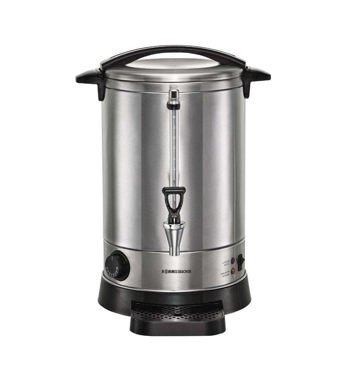Rommelsbacher GA 1700 термопотGA 1700Идеальный спутник для зимних праздников и фестивалей - порция горячего глинтвейна, пунша, чай, кофе и многое другое. Температуру напитка можно плавно регулировать, и беспосредственно наливать в чашку благодаря качественному сливному крану. Надежный бак с двойными стенками из нержавеющей стали является стильным и легко моется; он обеспечивает лучший тепловой изоляции и энергосберегающие операции. Индикатора уровня воды всегда в поле зрения. Привлекательный, удобный прибор, для которого можно найти широкий спектр применения