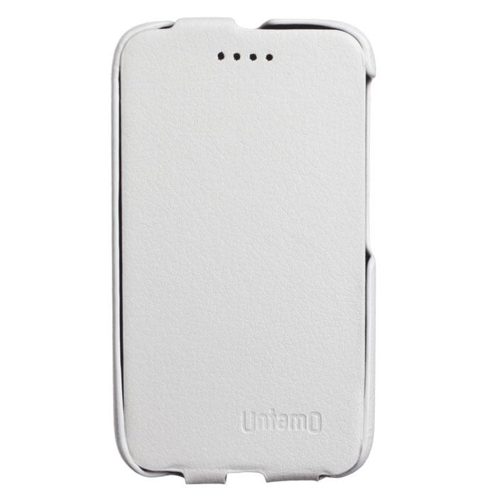 Untamo Essence Flip чехол для Alcatel 4009D Pixi 3, WhiteUESFAL4009DWHUntamo Essence Flip - ультратонкий чехол из эко-кожи с металлической основой для Alcatel 4009D Pixi 3. Плотно прилегает к смартфону, формируя жесткий каркас. Подкладка из микрофибры обеспечивает дополнительную защиту устройства от механических повреждений.