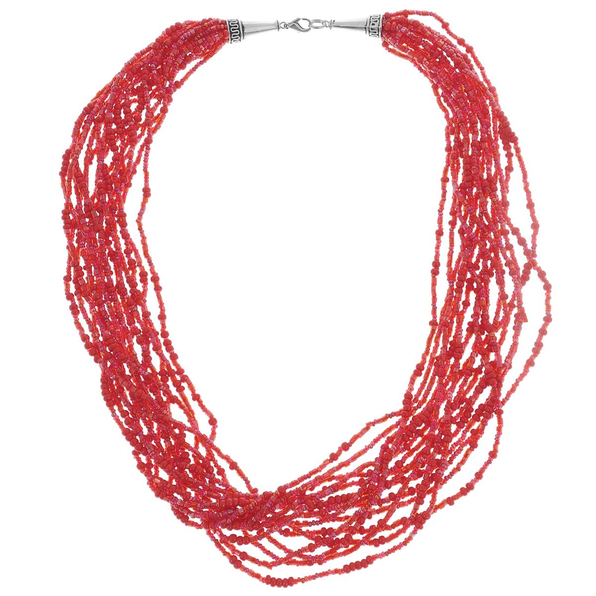 Колье-бусы Beads: коралл (Бисер). Ручная авторская работаBB3
