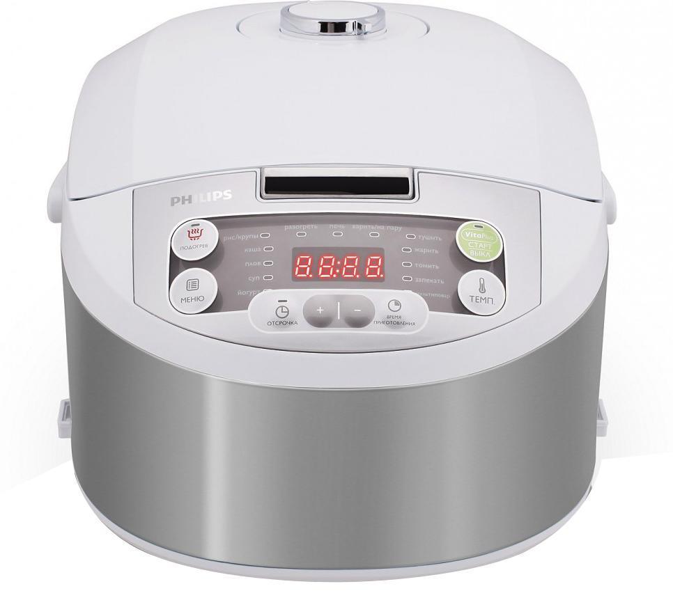 Philips HD3136/03 мультиваркаHD3136/03Мультиварка Philips HD3136/03 Viva Collection с технологией VitaPlus и двумя нагревательными элементами для быстрого и равномерного нагрева. Равномерное распределение тепла осуществляется благодаря функции 3D- нагрева. Легко программируемый таймер отсрочки старта до 24 часов позволит приготовить блюда к нужному времени. Мультиварка оснащена 15 программами и режимом Multicook для приготовления вкусных и здоровых блюд. В комплект входит кулинарная книга с более чем 30 оригинальными рецептами вкусных блюд и советами профессионалов. Внутреннюю чашу можно мыть в посудомоечной машине.