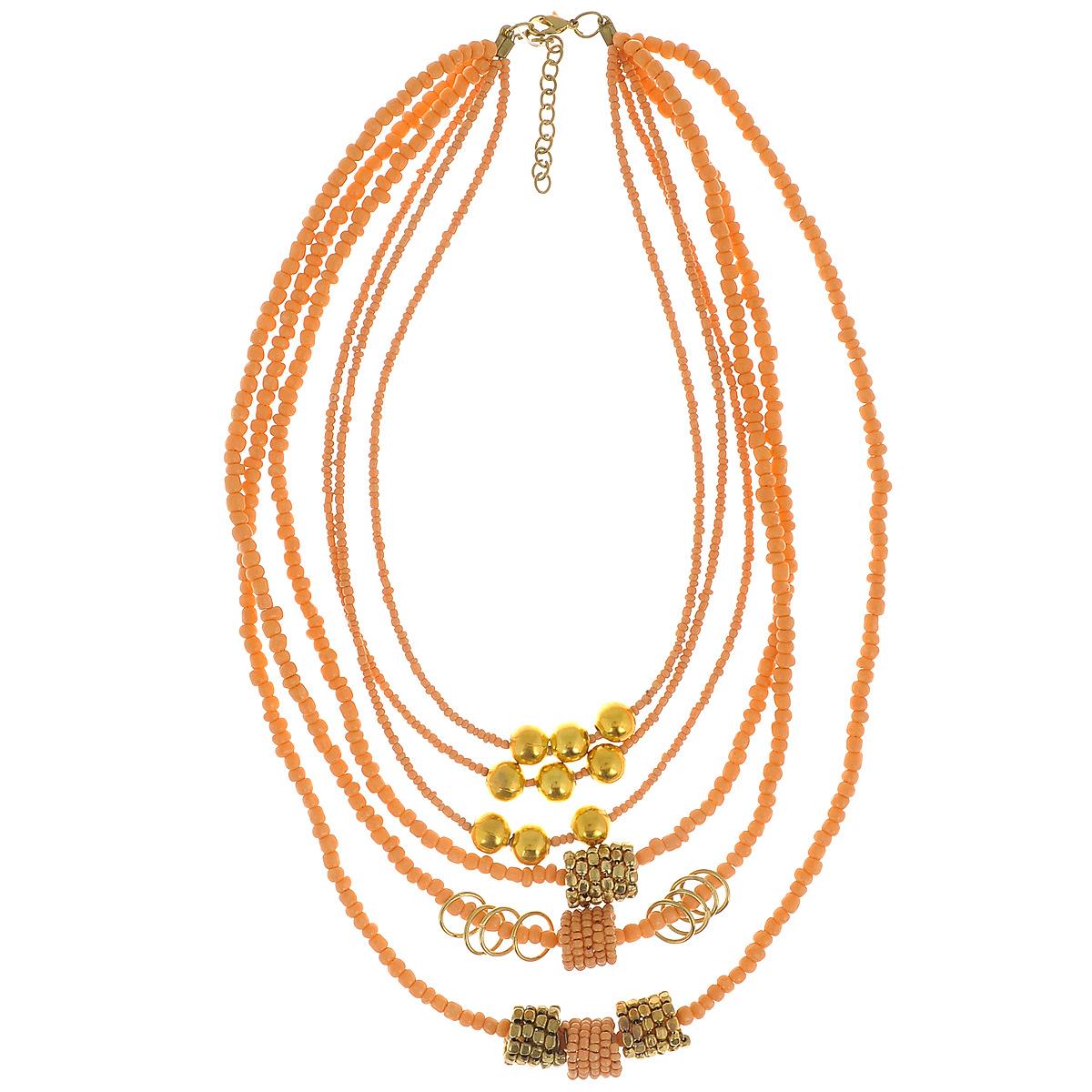 Бусы Ethnica, цвет: персиковый, золотистый. 082055082055Яркое ожерелье Ethnica, изготовленное из текстиля, кости и пластика, состоит из шести нитей, на которые нанизан бисер различного размера. Три нити оформлены круглыми бусинами, стилизованными под металл, одна нить - металлическими кольцами, три нити - декоративными элементами в виде пружин, украшенными бисером или бусинами. Изделие застегивается при помощи удобного замка-карабина. Длина ожерелья регулируется за счет цепочки. Это необычное и красивое украшение прекрасно дополнит этнический образ и позволит выделиться среди окружающих.