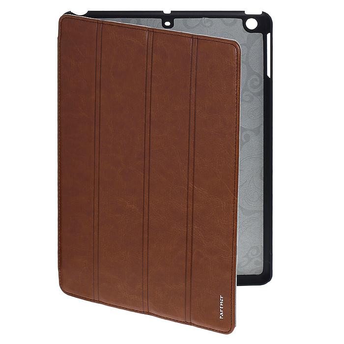 Чехол-обложка SmartCover для планшета iPad 5, цвет: коричневыйПР029275Чехол-обложка SmartCover предназначен специально для планшета iPad 5. Чехол выполнен из пластика и искусственной кожи синего цвета, внутри имеет мягкую подложку из бархатистого материала. Чехол-обложка SmartCover идеально подходит к вашему планшету, предусмотрены все необходимые вырезы и отверстия под клавиши управления и разъемы. Чехол защитит планшет от механических повреждений, а также от попадания пыли и грязи. Практичен в использовании и имеет стильный внешний вид. Корпус устройства надежно закреплен, что исключает его выпадение. Чехол легко трансформируется в удобное положение.