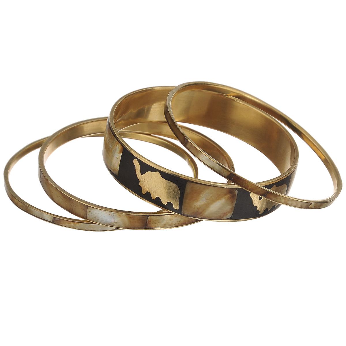 Набор браслетов Ethnica, цвет: коричнево-зеленый, черный, золотой, 4 шт. 100045100045Стильный набор браслетов Ethnica выполнен из золотистого металла и оформлен вставками из ракушек, некоторые из которых дополнительно украшены оригинальным узором. В комплект входят четыре браслета различной ширины. С таким модным ярким аксессуаром вы сможете каждый день экспериментировать со своим образом, привнося в него новые краски и настроение.