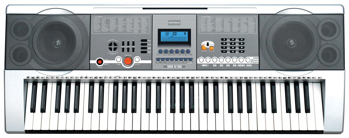 Supra SKB-610U цифровой синтезаторSKB-610USupra SKB-610U - 61-клавишный электронный синтезатор с функцией проигрывания файлов с флешки через USB. Также в устройстве предусмотрена функция интеллектуального обучения, состоящего из 3 ступеней, что позволяет новичкам шаг за шагом обучиться игре на синтезаторе. Количество предварительно записанных мелодий: 10 Управление ритмом: Tempo, Sync, Fill-IN Встроенные громкоговорители 2 х 3 Вт Источники питания: сетевой адаптер 220 В / DC 12 В Потребляемая мощность: 6 Вт Запись до 52 нот