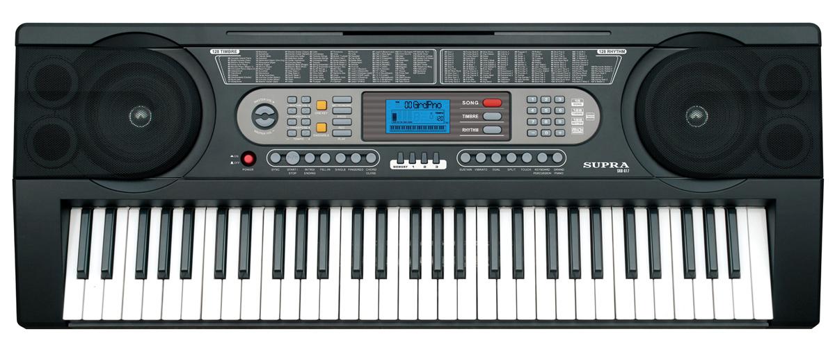 Supra SKB-617 цифровой синтезаторSKB-617Синтезатор Supra SKB-617 подойдет как для новичков, так и для опытных музыкантов. Для начинающих предусмотрена функция обучения, которая состоит из двух ступеней, что позволяет шаг за шагом освоить игру на синтезаторе. Количество ритмов: 128 Демонстративные песни: 15 Встроенные громкоговорители: 2 х 5 Вт Источники питания: сетевой адаптер 220 В, 50 Гц / DC 12 В Потребляемая мощность: 12 Вт