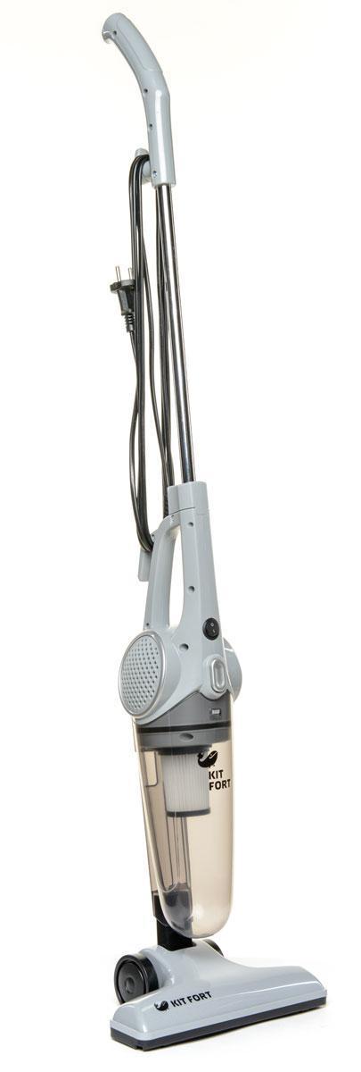 Kitfort KT-509, Gray вертикальный пылесосKT-509Вертикальный пылесос удобен при уборке больших площадей, например, загородных домов и коттеджей. Он незаменим в доме, офисе, отеле, на даче. Конструкция 2 в 1 предусматривает наличие ручного пылесоса, который удобно использовать отдельно. К ручному пылесосу достаточно подсоединить удлинительную ручку, и он превращается в вертикальный пылесос Одно из главных достоинств вертикального пылесоса - это компактность. В отличие от обычного пылесоса, который нужно перед уборкой доставать и собирать, вертикальный пылесос всегда готов к работе. При хранении он занимает гораздо меньше свободного места, а во время работы благодаря своей маневренности может легко вписаться в узкий коридор или комнату, заполненную различными предметами. Для владельцев небольших квартир, которые сталкиваются с проблемой, где же хранить пылесос, приобретение вертикальной модели с вытянутой вверх конструкцией будет оптимальным вариантом. После снятия ручки вертикальный пылесос превращается в...