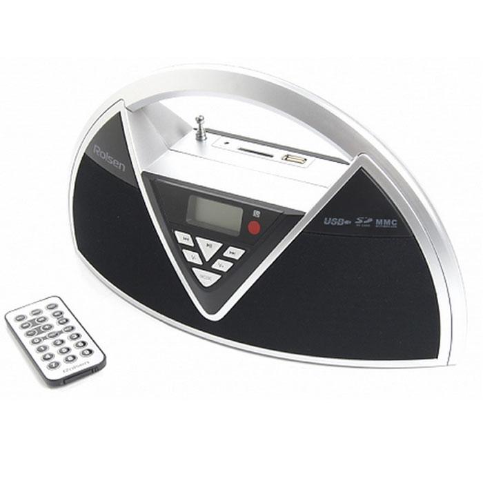 Rolsen RBM215MUR, Silver Black радиоприемник1-RLAM-RBM215MURBLРадиоприемник Rolsen RBM-215MUR станет вам незаменимым спутником. Дизайн устройства специально разработан для удобного использования дома, в офисе или путешествии: легкий, компактный, с удобной ручкой для переноски, и съемным аккумулятором для автономной работы. Устройство оснащено высокочувствительным тюнером и обеспечивает точную настройку и качественный прием любимых радиостанций. Жидкокристаллический дисплей c голубой подсветкой, отражает всю необходимую информацию. Радиостанции можно слушать через акустическую систему, мощные динамики 2 x 2 Вт обеспечивают отличный звук, или через наушники (приобретаются отдельно). Повторение всех треков Пауза Форматы файлов Воспроизведение файлов с устройств, подключенных по USB Воспроизведение файлов с карт памяти SD Тип радио тюнера: цифровой Диапазон частот FM Радио: 87,5-108 мГц Дисплей Разъем для наушников 3,5 мм Линейный вход AUX IN USB порт SD слот Питание 220/240 Вт...