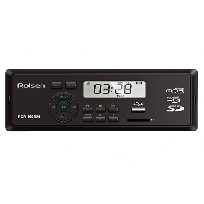 Rolsen RCR-100x24, Blue автомагнитола1-RLCA-RCR-100B24Компания Rolsen представляет линейку автомобильных магнитол RCR-100x24, которые кроме компактных размеров и качественного звука обладают обширными функциональными возможностями, а также позволяют считывать информацию с различных носителей. Автомагнитола Rolsen RCR-100x24 способна воспроизводить музыкальный контент с SD/MMC и USB носителей. Современный строгий дизайн отлично интегрируется в панель любого автомобиля, а выходная мощность 4х45 Вт обеспечивает великолепное звучание.
