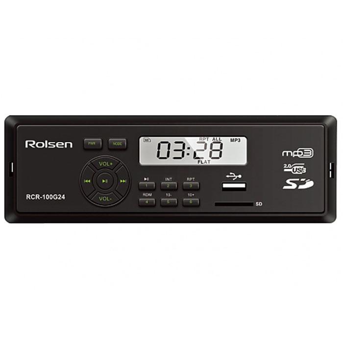Rolsen RCR-100x24, Green автомагнитола1-RLCA-RCR-100G24Компания Rolsen представляет линейку автомобильных магнитол RCR-100x24, которые кроме компактных размеров и качественного звука обладают обширными функциональными возможностями, а также позволяют считывать информацию с различных носителей. Автомагнитола Rolsen RCR-100x24 способна воспроизводить музыкальный контент с SD/MMC и USB носителей. Современный строгий дизайн отлично интегрируется в панель любого автомобиля, а выходная мощность 4х45 Вт обеспечивает великолепное звучание.