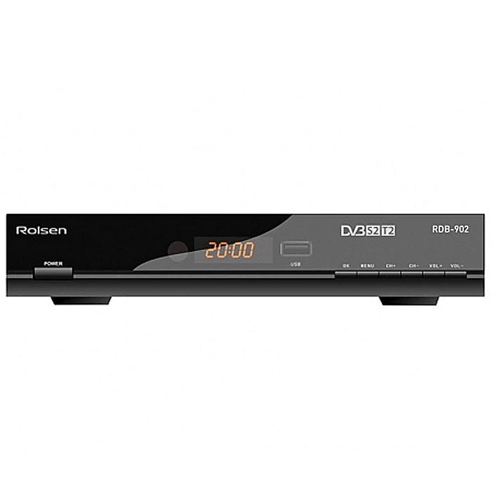 Rolsen RDB-902 ТВ-тюнер1-RLDB-RDB-902Компания Rolsen Electronics предлагает современный ресивер Rolsen RDB-902, который принимают сигнал как в спутниковом формате DVB-S2 (MPEG4, Full HD) , так и в эфирном цифровом формате DVB-T2. Rolsen RDB-902 оснащен USB портом, который позволяет записывать эфирные телепрограммы в цифровом качестве на внешние носители (функция PVR). Благодаря функции TimeShift можно после нажатия на «Паузу» в любой момент продолжить просмотр с того места, где он был прерван. Модель RDB-902 имеет удобный механизм для установки жесткого диска 2.5 HDD SATA (Slot-In HDD). Для этого не требуется разбирать корпус, достаточно выдвинуть рамку из слота, вложить в нее жесткий диск выбранной емкости и задвинуть внутрь корпуса. Также легко можно удалить или заменить жесткий диск. Модель RDB-902 позволяет воспроизводить музыкальный и видеоконтент с внешних носителей (через USB порт), причем поддерживаются все основные форматы, включая MP3, AVI, DivX и MKV. Также в ресивере...