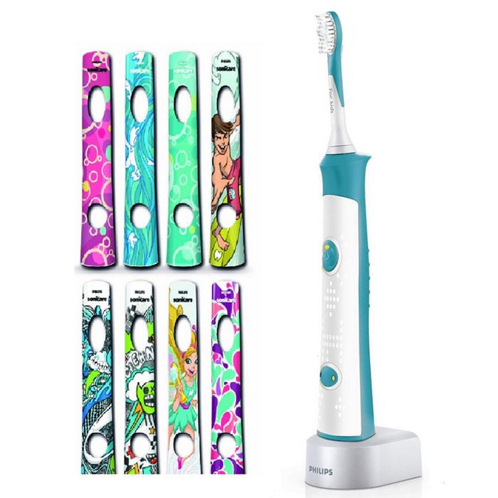 Philips HX6311/07 Sonicare For Kids электрическая зубная щеткаHX6311/07Philips HX6311/07 Sonicare For Kids — электрическая зубная щетка для детей от 4 лет. Она обеспечивает максимальное удаление налета, оснащена звуковой технологией, индивидуальными наклейками и обучающими аксессуарами для развития навыков чистки зубов, которые запомнятся на всю жизнь. Веселые мелодии вдохновляют малышей на эффективную чистку зубов в течение двух минут (в соответствии с рекомендациями стоматологов). Чтобы помочь малышу привыкнуть к ежедневным процедурам по уходу за полостью рта, электрическая зубная щетка постепенно увеличивает продолжительность чистки на протяжении 90 дней. В результате естественным образом развивается полезная привычка чистить зубы в течение двух минут (в соответствии с рекомендациями стоматологов). Зубная щетка оснащена двумя безопасными для ребенка режимами, что гарантирует правильную чистку зубов в соответствии с возрастом. Режим бережной чистки предназначен для малышей, а режим интенсивной чистки...