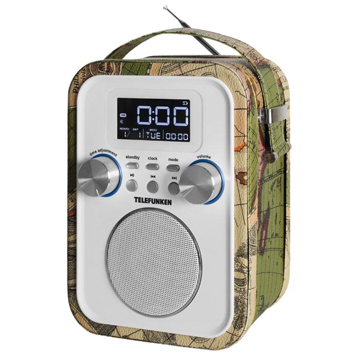 Telefunken TF-1635U, White радиоприемникTF-1635UTelefunken TF-1635U - стильный радиоприемник в корпусе с отделкой под кожу. Данная модель имеет цифровой FM- тюнер с памятью на 40 радиостанций, а также возможность воспроизведения MP3– файлов с USB – накопителей и SD/TF/MMC-карт. Приемник также оснащен ЖК-дисплеем с подсветкой. Пульт дистанционного управления поставляется в комплекте.