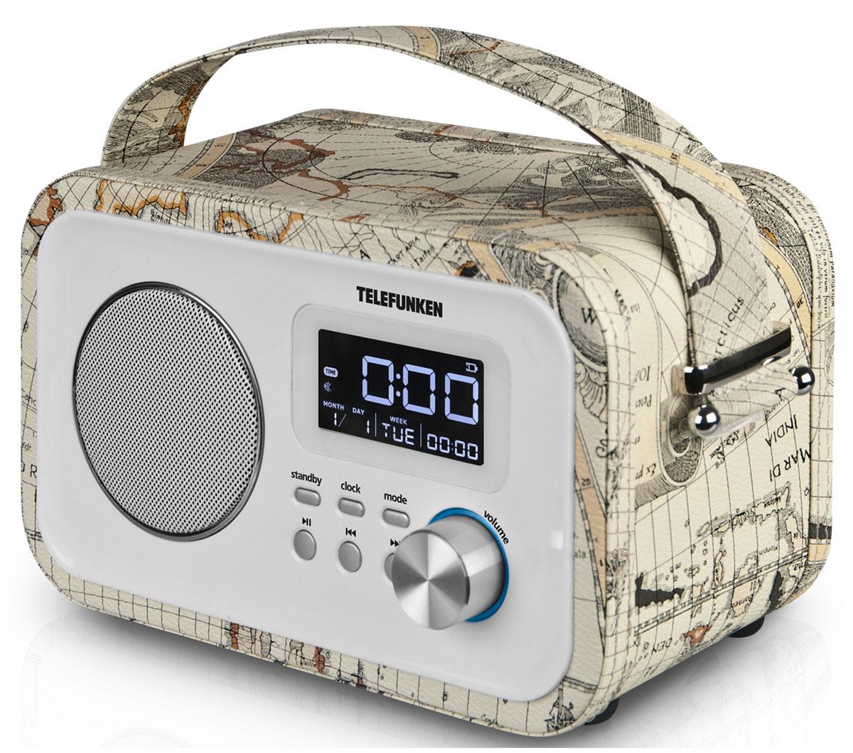 Telefunken TF-1636U, White радиоприемникTF-1636uTelefunken TF-1636U - стильный радиоприемник в корпусе с отделкой под кожу. Данная модель имеет цифровой FM-тюнер с памятью на 40 радиостанций, а также возможность воспроизведения MP3- файлов с USB - накопителей и SD/TF/MMC-карт. Приемник также оснащен ЖК-дисплеем с подсветкой. Пульт дистанционного управления поставляется в комплекте. Питание: от сети 220В/сменный аккумулятор BL-5C, 800мА/ч Телескопическая антенна Поддержка карт памяти SD/TF/MMC Разъемы: USB 2.0, miniUSB, AUX In, выход на наушники 3,5 мм Ручка для переноски Материал корпуса: пластик/ кожзаменитель