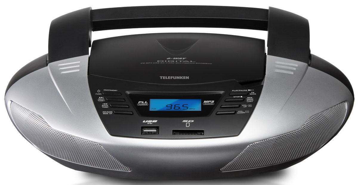 Telefunken TF-CSRP3480, Silver аудиомагнитолаTF-CSRP3480_silverМагнитола Telefunken TF-СSRP3480 сразу приковывает к себе внимание изящными округлыми линиями своего футуристичного корпуса, который, кстати, может быть как серебристым, так и нежно-белым. Ровно посередине корпуса имеется вставка чёрного цвета с дисковой декой для CDDA, CD-R/RW-носителей, с USB и SD-разъёмами, набором функциональных клавиш и небольшим LCD-дисплеем. На дисплее может быть показано настроенное текущее время, т.к. магнитола имеет электронный часовой механизм, или показана выбранная радиочастота. Модель TF-CSRP3480 оснащена цифровым тюнером, работающим в FM-диапазоне. Из дополнительных возможностей подключения имеется линейный вход и разъём для наушников (3,5 мм). Магнитола будет радовать своего обладателя хорошей музыкой посредством двух динамиков мощностью по 3 Вт каждый, изящным внешним видом и удобством использования. Она может работать и от розетки, и независимо от сети. 6 батареек типа UM2 хватает на несколько часов беспрерывной работы, а удобная...