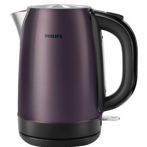 Philips HD9322/40, Lilac Black электрический чайникHD9322/40Надежный и стильный металлический чайник изготовлен из нержавеющей стали и отличается долгим сроком службы Надежный и безопасный регулятор чайника разработан в Великобритании Встроенный нагревательный элемент из нержавеющей стали обеспечивает быстрое кипячение и простую чистку. Съемный фильтр от накипи для чистой воды и чистого чайника Наполнить чайник можно через носик или открыв крышку Широко открывающаяся крышка на пружине для удобного наполнения и очистки исключает контакт с паром Понятный индикатор уровня воды Шнур оборачивается вокруг основания, что позволяет легко разместить чайник на кухне Элегантная подсветка кнопки включения/выключения уведомляет о процессе нагрева воды Беспроводная подставка с поворотом на 360 ° для удобства использования Комплексная система безопасности для предотвращения короткого замыкания и выкипания воды. Функция автовыключения...