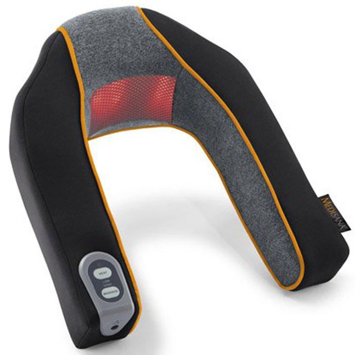 Medisana Массажер для шеи и плеч MNV00000926Массажер для шеи и плеч Medisana MNV предназначен для массажа области шеи, затылка и плеч. Можно настроить два уровня интенсивности приятного вибромассажа. Массаж можно дополнить тепловым воздействием. Красный свет помогает расслабить мускулатуру в области шеи и плеч. Опционально прибор может работать от батареек, благодаря чему им можно пользоваться повсеместно, независимо от наличия электрической сети. Универсальный и удобный массажер для шеи и плеч Medisana MNV нормализует кровообращение, расслабляет и массирует мышцы, способствует правильному положению шеи и плеч, выравнивает позвоночник и не допускает искривления позвонков. Если вы хотите сделать приятный, а главное полезный подарок кому-либо из ваших друзей или знакомых — подарите ему комфортный массажер для шеи и плеч Medisana MNV.
