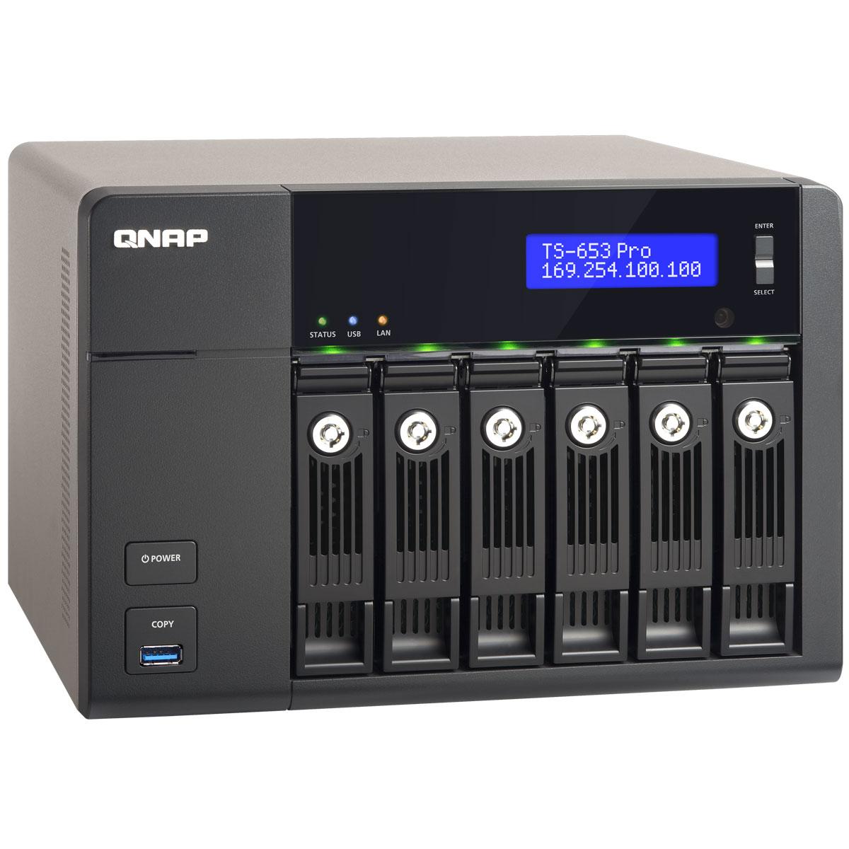 QNAP TS-653 Pro сетевой RAID-накопительTS-653 ProQNAP TS-653 Pro – это высокопроизводительный сетевой накопитель с большой емкостью хранения для дома, малого офиса и рабочих групп. Оснащенное операционной системой QTS для сетевых накопителей QNAP, устройство идеально подойдет для резервного копирования данных, синхронизации файлов, безопасного удаленного доступа, организации медиабиблиотеки, а также надежного личного облака. Рабочий стол QTS 4.0, включающий в себя основное меню, графическую панель мониторинга, пиктограммы с возможностью перетаскивания, несколько рабочих столов, персонализированные обои и «умную» панель инструментов, значительно облегчает выполнение системных операций. Поддержка мультизадачности позволяет одновременно держать открытыми несколько окон, работая параллельно с различными приложениями. QNAP TS-653 Pro обеспечивает постоянную доступность ваших данных в персональном «облаке», подключиться к которому можно через любой веб-браузер или бесплатное приложение для планшетов...