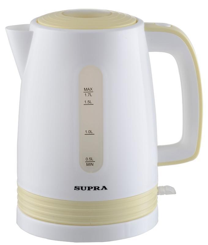 Supra KES-1723, White Yellow электрический чайникKES-1723 white yellowЭлектрический чайник SUPRA KES-1720 является прекрасным решением для тех, кто любит устраивать себе перерывы в работе на чашечку чая или кофе. Он прост в управлении и долговечен в использовании. Чайник автоматически выключается при закипании.