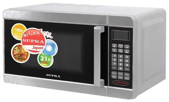 Supra MWS-2104SS микроволновая печьMWS-2104SSSupra MWS-2104SS - отличная СВЧ печь, которая поможет приготовить изысканные блюда всего лишь за пару минут. Стильный дизайн печи идеально впишется в любое помещение. Также обладает отличными функциями и особенностями системы - подсветка камеры, звуковой сигнал, блокировка от детей. Мощность данной модели составляет 700 Вт, а этого хватит чтобы воплотить любые кулинарные фантазии в жизнь. Особым плюсом станет наличие режима разморозки. Управление электронное. Внутреннее покрытие легко моется и не доставит лишних проблем.