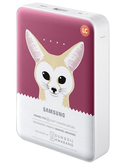 Samsung EB-PG850B, Fox внешний аккумулятор (8400 мАч)EB-PG850BPRGRUSamsung EB-PG850BCRGRU Pink Fox - это не просто внешний аккумулятор, но и самое настоящее украшение вашей сумки, а также забота о природе и вымирающих животных. Часть доходов от продажи этого устройства производитель направляет на сохранение вымирающих видов. Используемая в этой модели батарея обладает высокой емкостью 8400 мАч, чего достаточно для зарядки нескольких устройств. Причем делать вы можете это даже одновременно: Samsung EB-PG850B поддерживает параллельное подключение двух заряжаемых гаджетов, 5-уровневый индикатор показывает степень разряженности аккумулятора. Проверить состояние устройства можно одним нажатием клавиши. Аккумуляторные элементы Samsung SDI, используемые в этой модели, прошли тщательные испытания под контролем технических специалистов Samsung. Поэтому вы можете не волноваться о надежности устройства