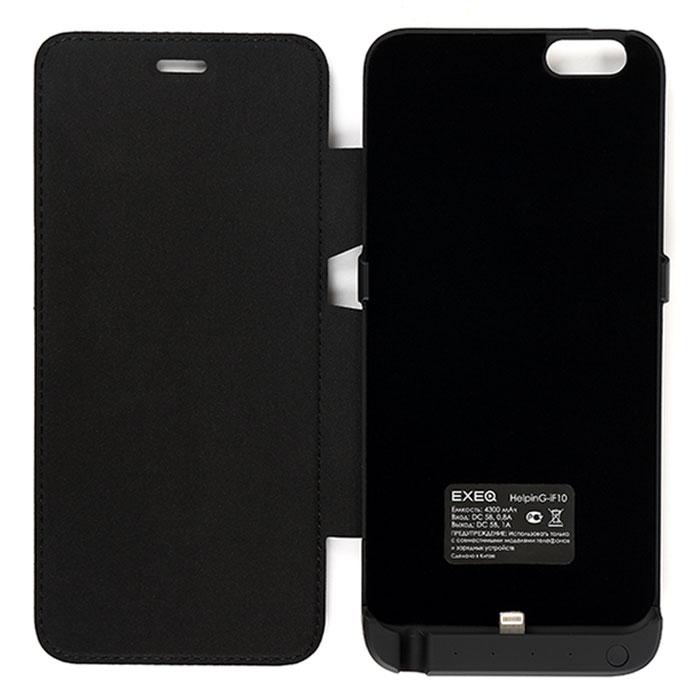 EXEQ HelpinG-iF10 чехол-аккумулятор для iPhone 6 Plus, Black (4300 мАч, флип-кейс)HelpinG-iF10 BLЧехол-аккумулятор EXEQ HelpinG-iF10 - достойная оправа для одного из самых популярных смартфонов на сегодняшний день - iPhone 6 plus. Данный чехол надежно защитит смартфон от любого внешнего воздействия, обеспечит своевременную подзарядку батареи смартфона и элегантно подчеркнет утонченный стиль и дизайн самого смартфона. Exeq HelpinG-iF10 оснащен встроенным аккумулятором емкостью в 4300 мАч - объем, которого хватит более чем на одну полную зарядку телефона. Удобная конструкция чехла прекрасно повторяет все контуры телефона и идеально совмещается со всеми разъемами и выходами. специальная выдвижная ножка-подставка позволит расположить смартфон при просмотре видео, общения по Skype. Зарядка чехла-аккумулятора EXEQ HelpinG-iF10 происходит от зарядного устройства смартфона, причем для зарядки, как чехла, так и телефона, необязательно извлекать телефон из чехла. Достаточно просто подключить зарядное устройство к чехлу и начнется автоматическая зарядка аккумулятора чехла. Если...