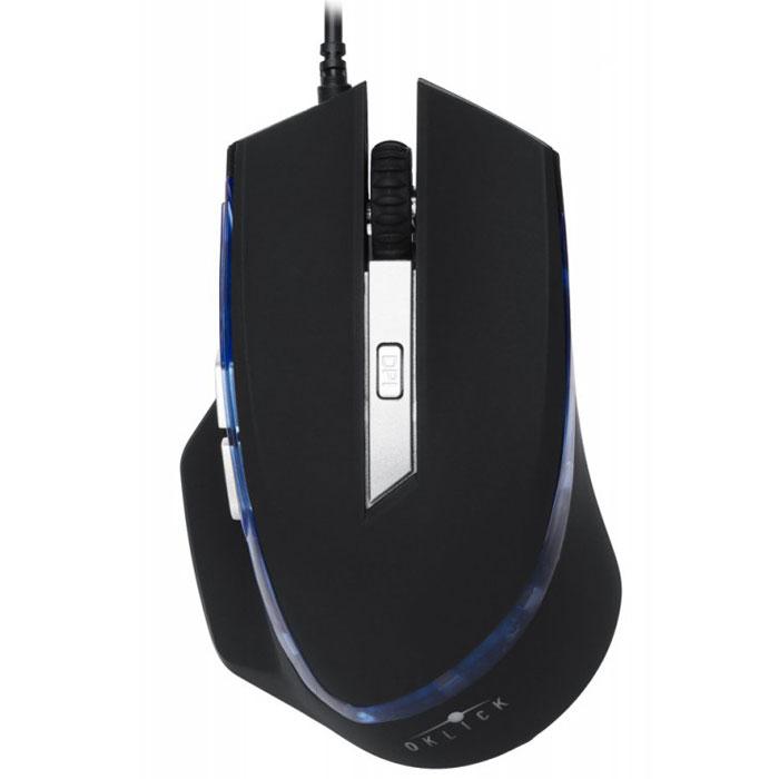 Oklick 715G, Black игровая мышьSM-8512(6D)Oklick 715G - красивая и удобная проводная 6D игровая мышь с неоновой подсветкой. Исключительный дизайн подчеркивает уникальность, голубая неоновая подсветка дополняет футористичность конструкции устройства. Оптический сенсор четко отслеживает динамичные передвижения контроллера. Удобный, эргономичный размер позволяет долго держать руку на устройстве, без неприятных ощущений усталости кисти и запястья. Правильно подобранный вес подойдет большинству пользователей. Огромный запас прочности кнопок – пять миллионов нажатий.