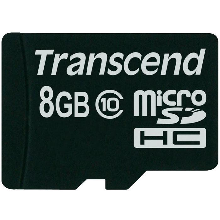 Transcend microSDHC Class 10 8GB карта памяти (TS8GUSDC10)TS8GUSDC10Карта памяти Transcend microSDHC Class 10 обладает отличными рабочими характеристиками при размере всего лишь 1/10 от размера SD карты. Продукт отличает необычайная скорость класса 10, представленная Ассоциацией SD карт в качестве новых характеристик SD 3.0, скорость записи 10 MБ/сек. гарантирована. Карта памяти microSDHC класса 10 с высокими скоростными характеристиками, большим размером памяти до 32 ГБ при минимальном размере особенно рекомендована для использования в современных мобильных устройствах. Все microSDHC карты прошли строгие тестирования на совместимость и надежность, и имеют ограниченную гарантию от компании Transcend. Каждая карта снабжена встроенным ECC (корректирующим кодом), который отвечает за автоматические обнаружение и устранение ошибок в процессе передачи данных. Внимание: перед оформлением заказа убедитесь в поддержке вашим электронным устройством карт памяти данного объема.