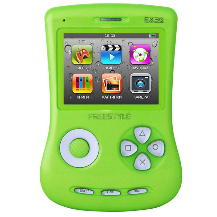 Игровая консоль EXEQ FreeStyle 2,7 (зеленая)MP-1002_зеленыйExeq Freestyle - это игровая приставка с богатыми мультимедийными возможностями, позволяющая играть в игры таких форматов, как NES (Dendy), SMD (Mega Drive) и GBA (GameBoy Advance), просматривать фильмы, слушать музыку, радио, читать книги. Оригинальная и стильная форма корпуса, воплощенная в качественном глянцевом пластике, яркий цветной экран, встроенная камера, AV-выход и многие другие приятные особенности приставки не оставят равнодушным к ней ни детей, ни взрослых. Неповторимый дизайн и яркие цвета. Exeq Freestyle - портативная игровая консоль с уникальным дизайном корпуса. В отличие от большинства современных портативных консолей Exeq Freestyle имеет вертикальное расположение - дисплей консоли расположен в верхней части корпуса, а все элементы управления в нижней - под экраном. Удачно дополняет дизайн приставки плавная обтекаемая форма, закругленные кнопки, и глянцевая поверхность. Также на выбор предлагается 8 вариантов цветового исполнения...