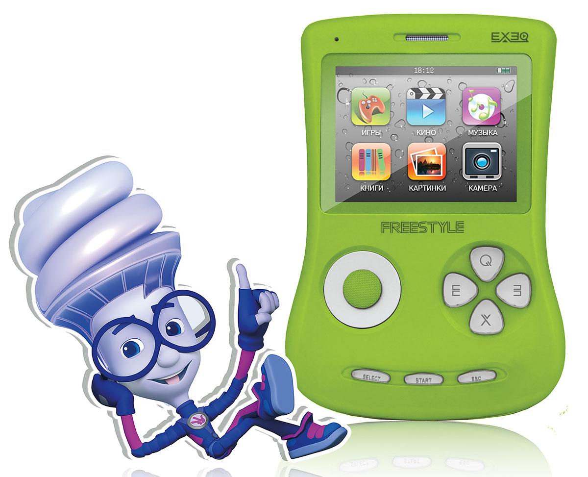 Портативная игровая приставка EXEQ ФикСи FreeStyle 2,7 (зеленая)MP-1002 FX_зеленыйИгровая Фикси-приставка Freestyle - это универсальная игровая приставка с оригинальным дизайном, LCD-дисплеем в 2,7 дюймов, встроенной памятью на 4 Гб и богатыми мультимедийными возможностями! Фикси-приставка воспроизводит любые игрушки на 8, 16 и 32 бита, которые можно свободно и бесплатно скачать из интернета или же довольствоваться 700 встроенными играми. А когда игры наскучат, Freestyle развлечет вас музыкой (поддерживаются MP3, FLAC, APE и другие), видео (в большинстве популярных форматов, включая MP4, AVI) или чтением электронных книг. В арсенале приставки предусмотрены даже FM-радио и 1,3 Мпикс камера! И еще один немаловажный аргумент - наличие видеовыхода на телевизор с RCA-кабелем в комплекте! Также игровая Фикси-приставка Freestyle имеет специальный пакет приложений от Фиксиков: 12 серий сериала Фиксики (4 новинки), 6 видеоклипов и несколько Фиксипелок. В январе 2015 г. специальный пакет приложений от Фиксиков пополнила 16-ти битная игра под ...