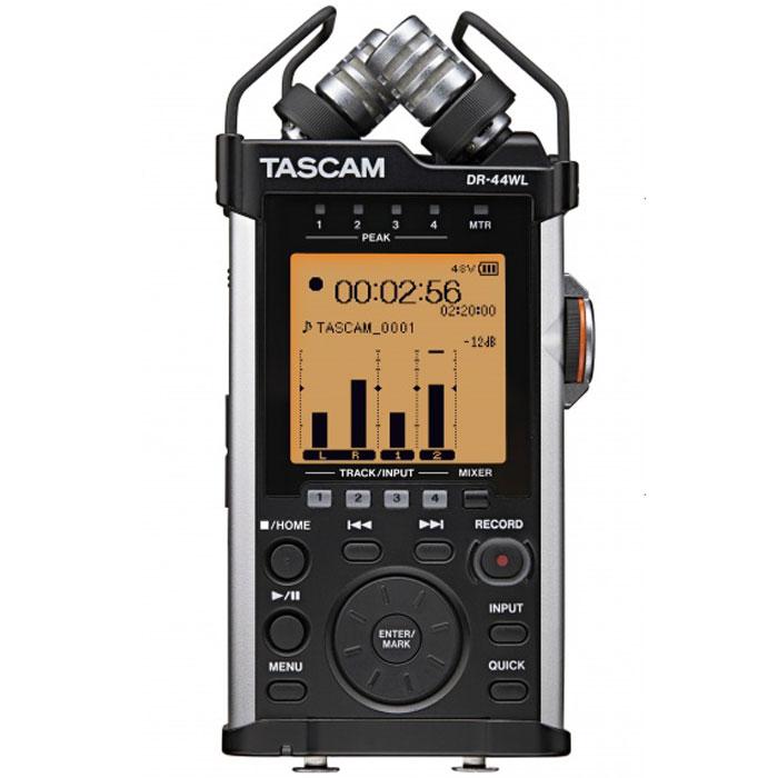 Tascam DR-44WL, Black диктофонTASCAM DR-44WLЦифровой диктофон Tascam DR-44WL - это компактное устройство с четырьмя дорожками для записи и возможностью управления при помощи мобильного телефона при помощи встроенного модуля Wi-Fi. Два высокочувствительных микрофона дают возможность улавливать больше подробностей звука и записывать его с максимальным количеством деталей. Эргономичный корпус Tascam DR-44WL разработан для работы при помощи одной руки. Интуитивное расположение клавиш создано для максимального комфорта при работе с устройством. Специальный регулятор дает возможность настройки чувствительности микрофонов вручную. Подключение при помощи технологии Wi-Fi не требует дополнительных проводов и делает управление диктофоном очень простым при помощи мобильного устройства. Бесплатное приложение, идущее в комплекте, с огромным набором настроек позволяет записывать, прослушивать и делиться вашими аудиоматериалами в социальных сетях. ЦАП: Cirrus logic CS42L52 Битрейт и частота: WAV/BWF:...
