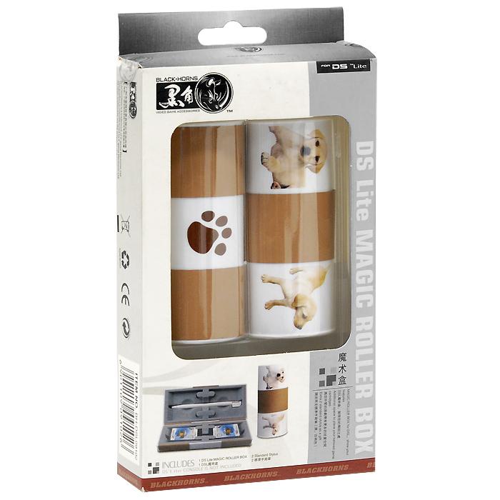 Футляр для картриджей + 2 стилуса для приставки DS Lite (кофейно-белый)