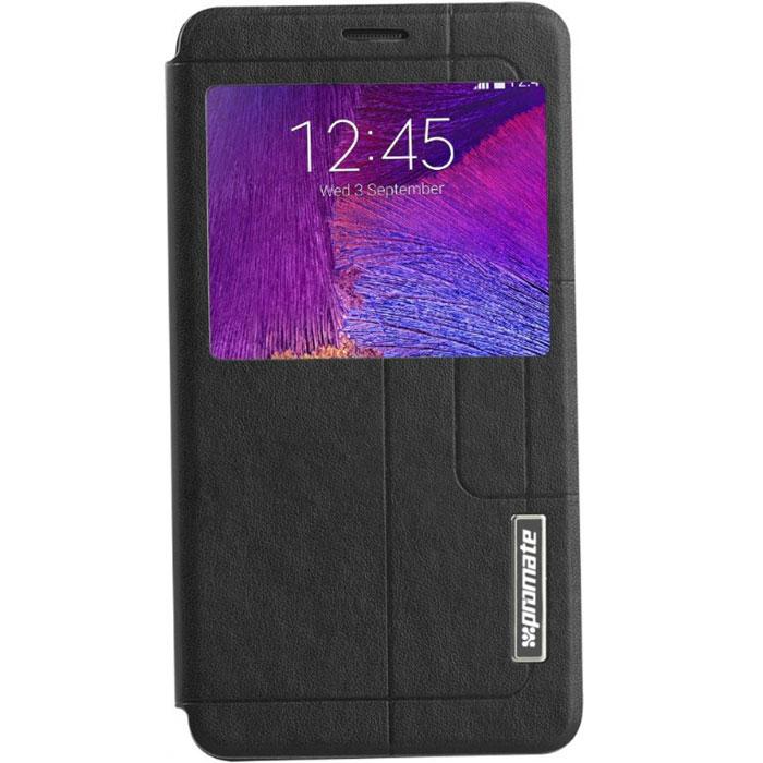 Promate Tama-N4 чехол для Samsung Galaxy Note 4, Black00008362Чехол Promate Tama-N4 привлечет ваше внимание с первого взгляда: удобный, практичный, стильный! Внутренняя оснастка удерживает Galaxy Note 4 аккуратно, но в тоже время очень надежно. Передняя крышка фиксируется удобным магнитным замком. Tama-N4 поддерживает опцию горизонтальной установки смартфона для удобного просмотра информации или видео, а наличие внутреннего отделения для карточек делает этот чехол действительно многофункциональным. Прозрачный сенсорный экран делает использование вашего Galaxy Note 4 много удобней и практичней. Доступен в нескольких цветовых решениях.