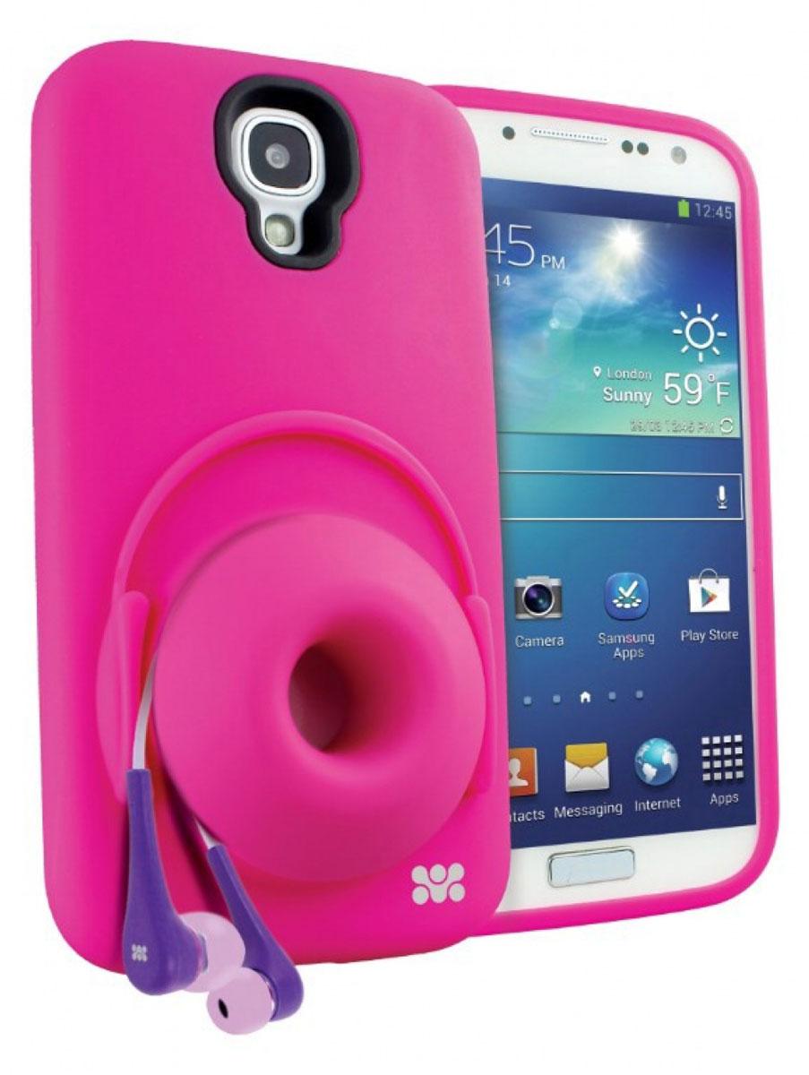 Promate Orator.S4 чехол-накладка для Samsung Galaxy S4, Pink00007947Чехол-накладка Promate Orator.S4 для Samsung Galaxy S4 - это целый комплекс функций, заключенных в кремниево-силиконовом корпусе. Orator-S4 обеспечивает надежную защиту вашего смартфона от царапин, сколов, потертостей и прочих неприятностей. Раскладной силиконовый рупор усиливает штатный звук смартфона в 2 раза, а также является бобиной для наматывания и хранения наушников, исключая их запутывание и скручивание. Чехол может быть использован в качестве вертикальной подставки. Orator-S4 идеально подходит для любителей слушать музыку с телефона.